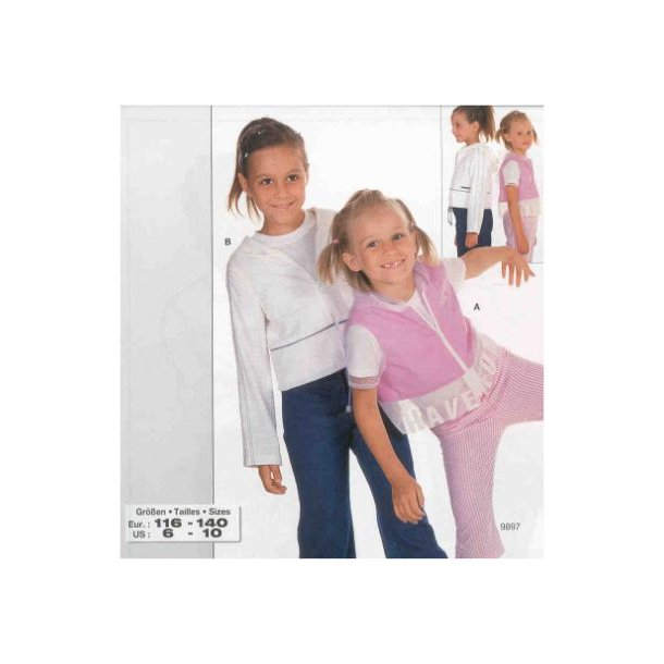 Bluse m/ lynlås og korte eller lange ærmer
