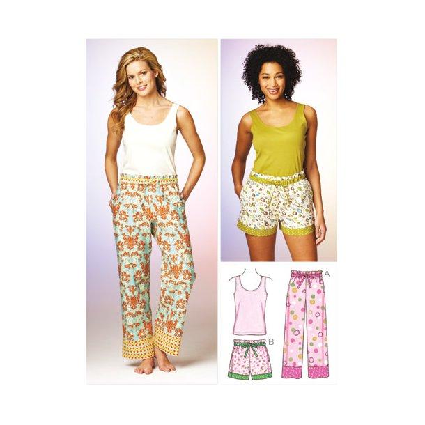 Top, nederdel og natbukser